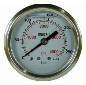 Манометр для АВД, 400bar, 1/4внеш, нерж.сталь
